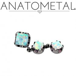 "Anatometal Titanium Threadless 4mm Princess-cut Gem End w/ two 3mm Princess-cut Dangles 18 gauge 18g ""press-fit"""