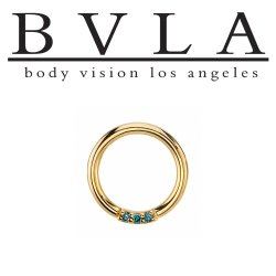 "BVLA 14kt & 18kt Gold ""Blaze 3"" with 1mm Gems Nose Nostril Septum Daith Seam Ring 18 Gauge 16 Gauge 18g 16g Body Vision Los Angeles"