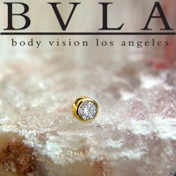 "BVLA 14kt & 18kt Gold ""Bezel-set VS1 Diamond"" 2mm 2.25mm 2.5mm 2.75mm 3mm Threadless End 18g 16g ""Press-fit"""