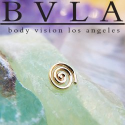"BVLA 14kt & 18kt Gold ""Melody Super Spiral"" Threaded End 18g 16g 14g 12g Body Vision Los Angeles"