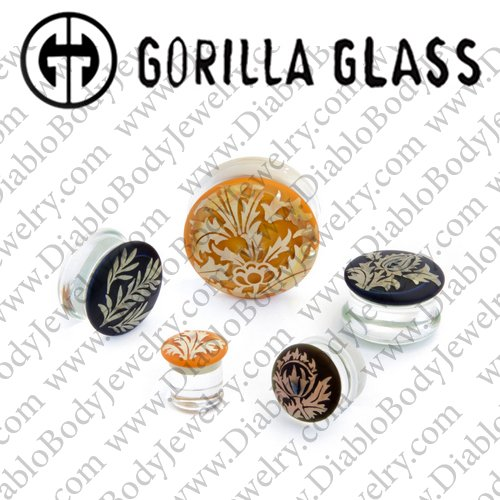 "Gorilla Glass Torian Plugs 1/2"" to 1"" (Pair) - Click Image to Close"