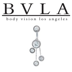 "BVLA 14kt Gold ""Valencia"" Navel Curved Barbell 14 gauge 14g Body Vision Los Angeles"