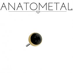 Anatometal 18kt Gold Threadless 2.0mm Bezel-set Cabochon Gem End 18g 16g 14g (25g Pin Universal) Threadless Posts Press-fit