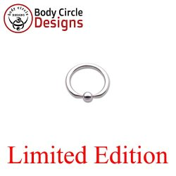"Body Circle Surgical Stainless Steel 1/2"" Flat Tip Captive Bead Ring 14 Gauge 14g"