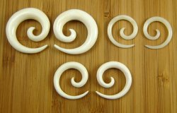 "Organic Water Buffalo Bone Spirals 10g-7/16"" (Pair) 2.5mm-11mm"