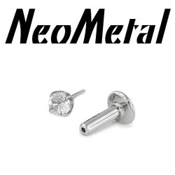 "14 Gauge 14g NeoMetal Titanium Universal Threadless Flatback Labret Post with Prong-set Faceted Gem End ""Press-fit"""