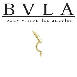 "BVLA 14kt ""Horn"" Yellow White Rose Gold Curved Barbell 14g Body Vision Los Angeles"