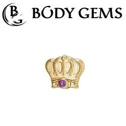 "Body Gems 14kt Gold Monarch Crown Threadless End 25g Pin (will fit 18g, 16g, 14g Universal Threadless Posts) ""Press-fit"""