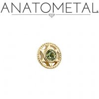 "Anatometal 18Kt Gold Threadless Vice End 2mm Gem 18 Gauge 18g ""Press-fit"""