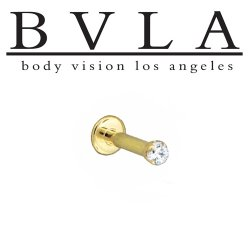 "BVLA 14kt & 18kt Gold ""1.75mm 4 Prong-set Gem"" Flatback Labret 16g 14g Body Vision Los Angeles"