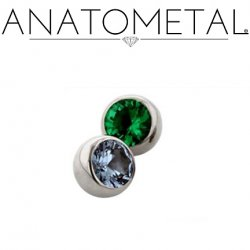 Anatometal Titanium Threaded Gem Ball End 00 gauge 00g