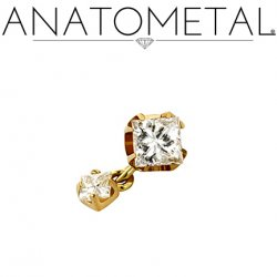 "Anatometal Titanium Threadless 3mm Princess-cut Gem End w/ 2mm Princess-cut Dangle 18 gauge 18g ""Press-fit"""