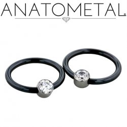 Anatometal Niobium Captive Gem Bezel Ring 14 Gauge 14g
