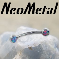 "16 Gauge 16g NeoMetal Threadless Titanium Side Cabochon Gem Curved Barbell ""Press-fit"""