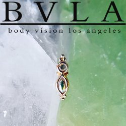 "BVLA 14kt & 18kt Gold ""Mai Marquise"" Threaded Gem End 18g 16g 14g 12g Body Vision Los Angeles"