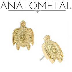 "Anatometal 18Kt Gold ""Turtle"" Threadless End 25g Pin (will fit 18g, 16g, 14g Universal Threadless Posts) Press-fit"