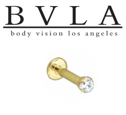 BVLA 14kt Gold Genuine Flawless 2.5 Diamond Prong-set Gem Flatback Labret 16g 14g Body Vision Los Angeles
