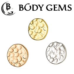 "Body Gems 14kt Gold ""Hammered Disc"" 5mm Threaded End Dermal Top 18 Gauge 16 Gauge 14 Gauge 12 Gauge 18g 16g 14g 12g"