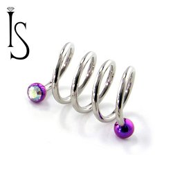 Industrial Strength Surgical Steel Internal Double Gem Spiral Barbell 16 Gauge 16g