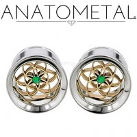 "Anatometal Stainless Steel Single Flare Eyelet Tunnel 18Kt Gold Seed Of Life with Gem Insert 5/8"" to 3/4"""""