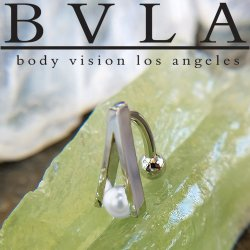 "BVLA 14kt & 18kt Gold ""A-Line"" White Pearl Navel Curved Barbell 14 Gauge 14g Body Vision Los Angeles"