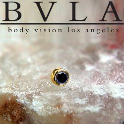 "BVLA 14kt & 18kt Gold ""Bezel-set Genuine Black Diamond"" 2mm 2.5mm 3mm Threadless End 18g 16g 14g ""Press-fit"""