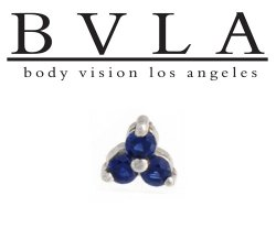 "BVLA 14kt Gold ""Tri Prong Cluster"" 2.5mm Gems Threaded End Dermal Top 18g 16g 14g 12g Body Vision Los Angeles"
