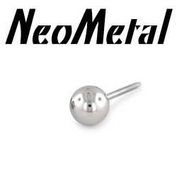 "NeoMetal Threadless Titanium 1/8"" Ball for 16 Gauge Curved Barbell ""Press-fit"" 18g"