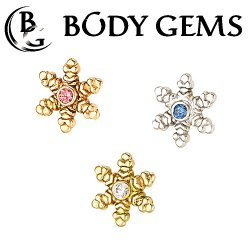 "Body Gems 14kt Gold ""Snowflake"" Threaded End Dermal Top 18 Gauge 16 Gauge 14 Gauge 12 Gauge 18g 16g 14g 12g"
