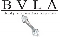 BVLA 14kt Tri-Bezel Cluster CZ Curved Barbell 16g Body Vision Los Angeles