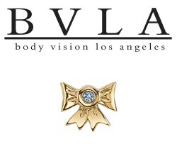 "BVLA 14kt & 18kt Gold ""Gift Bow with Gem"" Threaded End 18g 16g 14g 12g Body Vision Los Angeles"