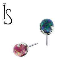 "Industrial Strength Titanium Swirled 3 Prong 4mm Synthetic Opal Threadless Gem End 25g Pin (will fit 18g, 16g, 14g Universal Threadless Posts) ""Press-fit"""