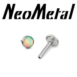 "18 Gauge 18g NeoMetal Titanium Threadless Flatback Labret Post with Bezel-set Cabochon Gem End ""Press-fit"""