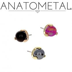 Anatometal 18Kt Gold Claw-set 4mm Gem Threadless End 18g 16g 14g (25g Pin Universal) Threadless Posts Press-fit