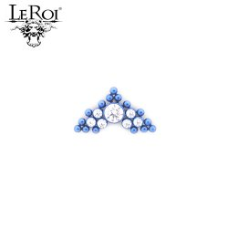 LeRoi Titanium 7 Gem Cluster With 15 Titanium Bead Accents Threaded End Dermal Top 18 Gauge 16 Gauge 14 Gauge 12 Gauge 18g 16g 14g 12g