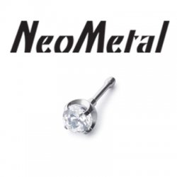 "16 Gauge 16g NeoMetal Threadless Titanium Prong-Set Gem 2.0mm ""Press-fit"""