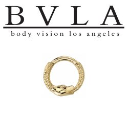 "BVLA 14kt & 18kt Gold ""Boston Python"" Septum Daith Clicker Hinged Ring 16 Gauge 16g Body Vision Los Angeles"