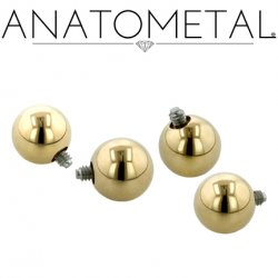 Anatometal 18kt Gold Threaded Ball End 18 Gauge 16 Gauge 14 Gauge 12 Gauge 18g 16g 14g 12g