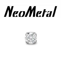 "16 Gauge 16g NeoMetal Threadless Titanium 2.5mm Prong-Set Genuine Diamond End ""Press-fit"""