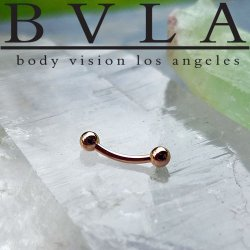 BVLA 14kt & 18kt Gold Curved Barbell Threaded Ball Ends 16 Gauge 16g Body Vision Los Angeles