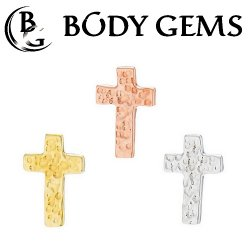 "Body Gems 14kt Gold Hammered ""Cross"" Threadless End 25g Pin (will fit 18g, 16g, 14g Universal Threadless Posts) ""Press-fit"""