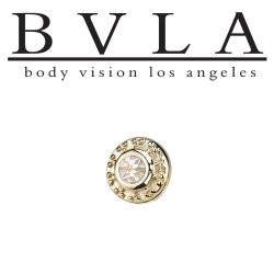 "BVLA 14kt & 18kt Gold ""Tiny Nanda VS Diamond"" Threaded End Dermal Top 18g 16g 14g 12g Body Vision Los Angeles"