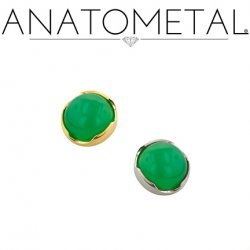 "Anatometal Titanium Threadless 4mm Prong-set Cabochon Gem End 18 Gauge 18g ""Press-fit"""