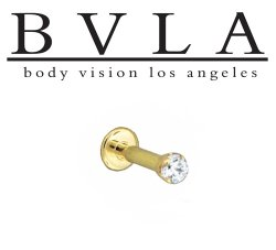 "BVLA 14kt & 18kt Gold ""2.5mm 4 Prong-set Gem"" Flatback Labret 16g 14g Body Vision Los Angeles"