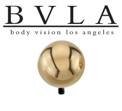 "BVLA 14kt & 18kt Gold ""5/16"" Bead"" Threaded Ball End 4 6 8 10 Gauge 4g 6g 8g 10g Body Vision Los Angeles"
