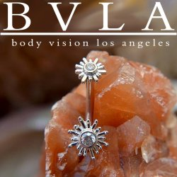 "BVLA 14kt Gold ""Sunshine"" Curved Barbell 16 Gauge 14 Gauge 16g 14g Body Vision Los Angeles"