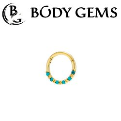 Body Gems 14kt Gold 6 Stone Cabochon Clicker Septum Daith Ring 16 Gauge 14 Gauge 16g 14g