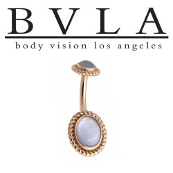 "BVLA 14kt Gold Oval ""Choctaw"" Navel Curved Barbell 14 gauge 14g Body Vision Los Angeles"