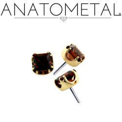 Anatometal 18kt Gold 3mm Prong-set Princess-cut Gem Threadless End 18g 16g 14g (25g Pin Universal) Threadless Posts Press-fit