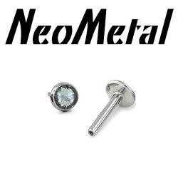 "18 Gauge 18g NeoMetal Titanium Threadless Flatback Labret Post with Bezel-set Rose Cut Cabochon Gem End ""Press-fit"""
